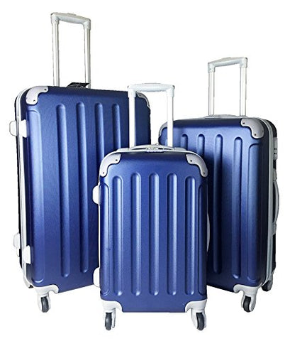 3 Pc Luggage Set Hardside Rolling 4Wheel Spinner Upright Carryon Travel Abs Blue