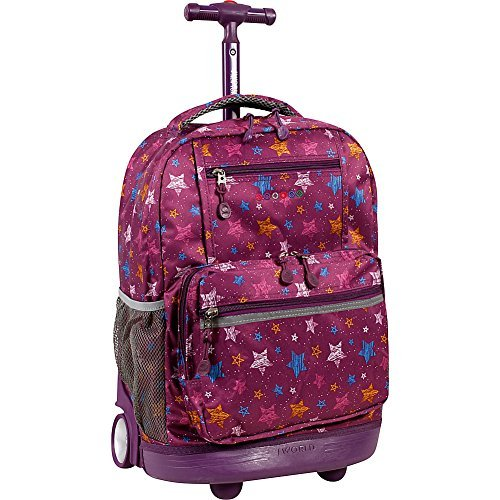 J World New York Sunset Rolling Backpack (Star Purple)
