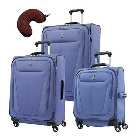"Travelpro Maxlite 5 | 4-PC Set | Int'l Carry-On, 25"" & 29"" Exp. Spinners with Travel Pillow (Azure Blue)"