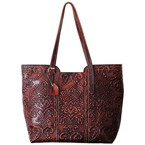 Vintage Leather Handbags Large-capacity Pure Hand-colored Top Layer Leather Big Shopping Bag