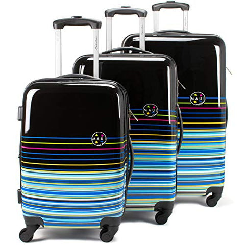 Maui and Sons Stripes 3-piece Hardside Spinner Luggage Set, TSA Lock