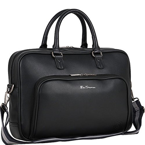 "Ben Sherman Faux Leather Top Zip 15.0"" Computer Bag Laptop Briefcase, Black, One Size"