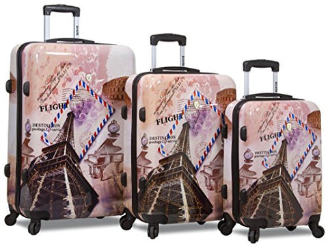 "New ""Dejuno"" Print Polycarbonate Hard Shell Luggage Set - Flight"