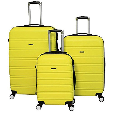 World Traveler Regis Hardside Expandable Spinner Luggage Set, Yellow