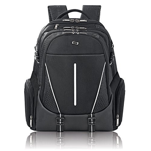 Solo Rival 17.3 Inch Laptop Backpack with Hardshell Side Pockets, Black