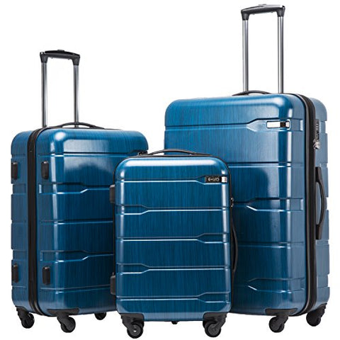 Coolife Luggage Expandable 3 Piece Sets PC+ABS Spinner Suitcase 20 inch 24 inch 28 inch
