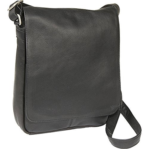 Le Donne Leather Flap Over Shoulder Bag (Black)