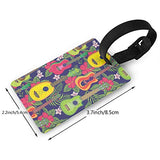 Luggage Tags - Colorful Hawaiian Fruity Ukulele And Flower Travel Baggage ID Suitcase Labels