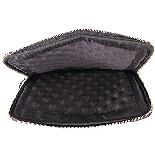 Latico Leathers Zippered Tablet Laptop Case, Genuine Luxury Leather for School Travel Business, Black
