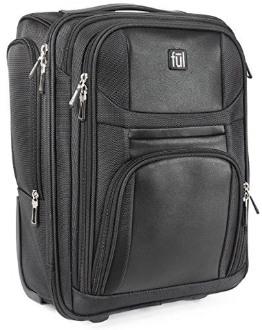 Ful Crosby Carry-on Luggage, Narrow Profile for Underseat Storage, Black""