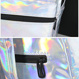 Tinksky Girl'S Sliver Holographic Laser Pu Leather School Backpack Travel Casual Daypack