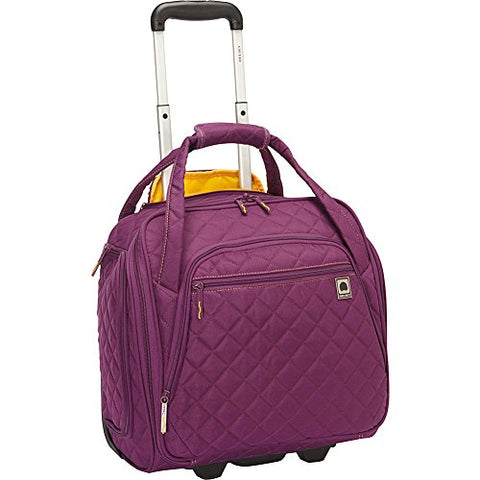Delsey Quilted Rolling Underseat Bag For Carry-On Fits Overhead & Under Airline Seat - (Purple)