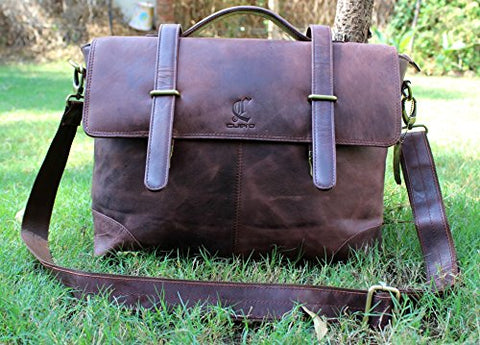 "Cuero 15"" Men's Auth Real Leather Messenger Laptop Briefcase Satchel Men and Women"