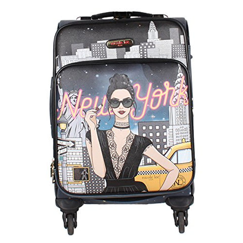 "Nicole Lee Women'S 20"" 4 Wheels Expandable Carry-On Luggage Black Nyc Print, New York With A Style"
