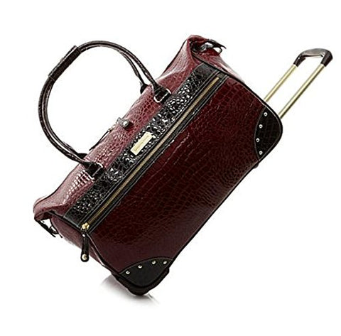 Samantha Brown Wheeled Dowel Weekender Luggage - Burgundy