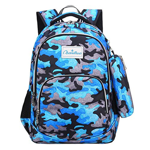 ABage Casual Backpack Set Water Resistant Hiking Travel Daypack Bookbag with Pencil Case, Blue