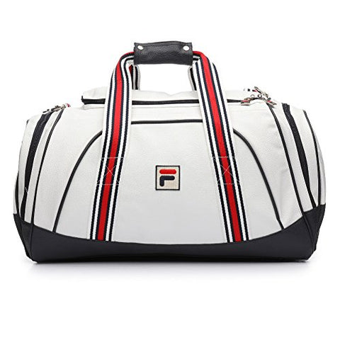 Fila Unisex Striker Duffle Bag, White, Navy, Chinese Red, One Size