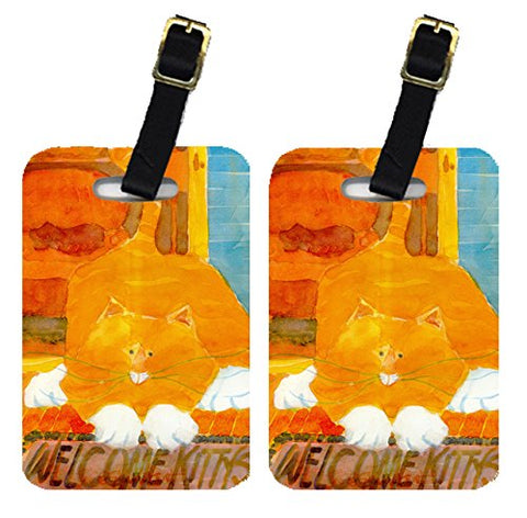Carolines Treasures 6010Bt Orange Tabby Welcome Cat Luggage Tag - Pair 2, 4 X 2.75 In.