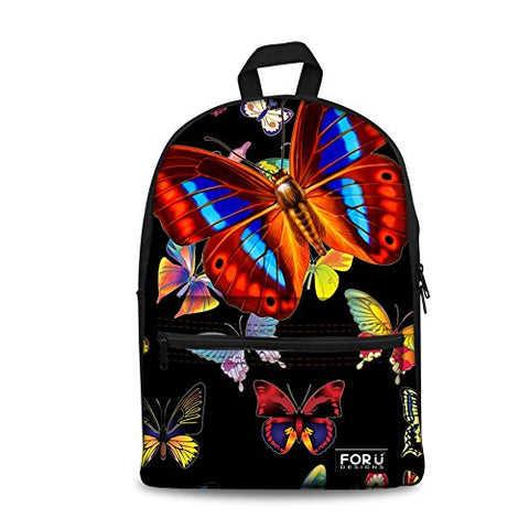 Bigcardesigns Lovely Butterfly Printing Double Shoulder Bookbag Girls