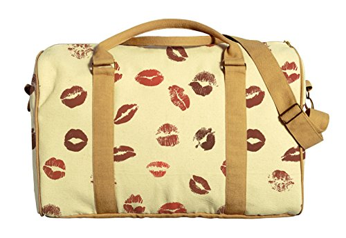 Vietsbay Women Lips Pattern Printed Canvas Travel Duffle Bag Was_42