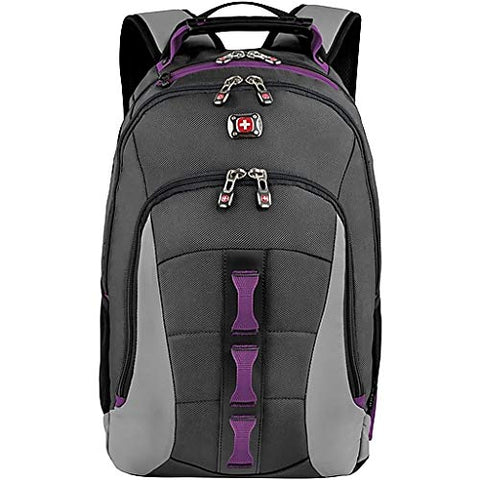 "SwissGear Skyscraper 16"" Padded Laptop Backpack/School Travel Bag Charcoal-Magenta"