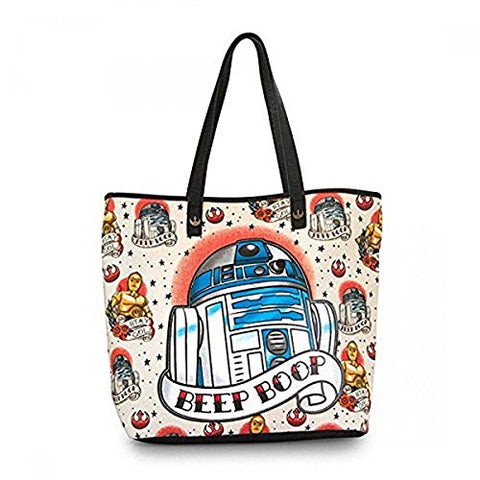 Loungefly Star Wars R2D2 Tattoo Applique Tote Bag Purse (Tan/Multi) STTB0078