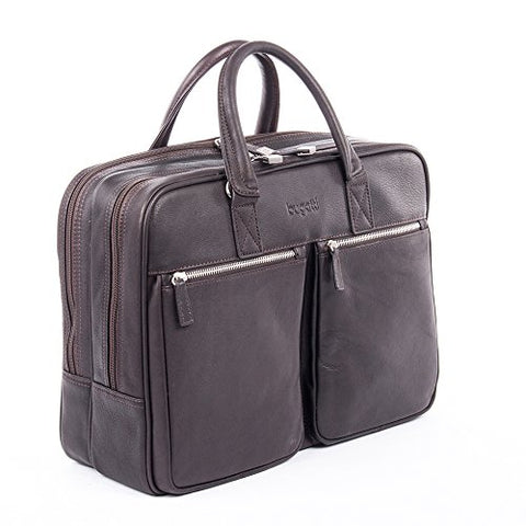 Bugatti Sartoria Zipper Large Leather Briefcase, Top Grain Leather, Brown