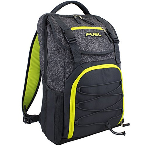 Fuel Triumph School Bookbag, Sports Backpack, Travel, Carry on, Hiking, Camping - Gray/Yellow
