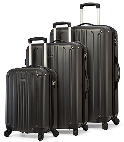 Travelcross Milano Luggage 3 Piece Lightweight Spinner Set (Black)