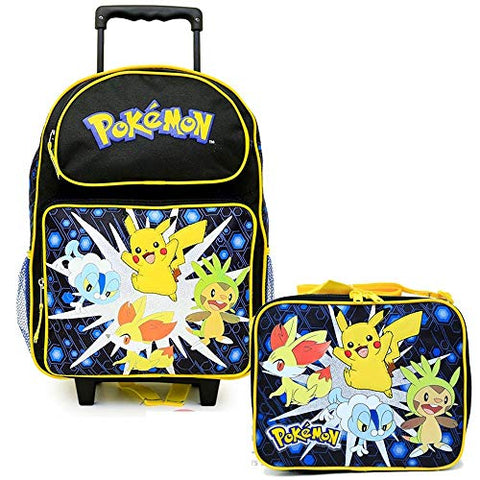 "Pokemon Pikachu Large 16"" Inches Rolling Backpack & Lunch New - Licensed Product"