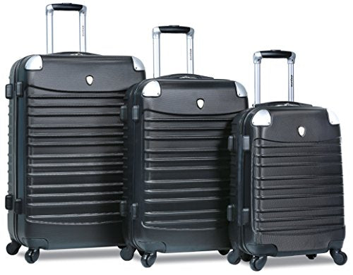 Dejuno Impact Hardside 3-Piece Spinner Luggage Set, Black
