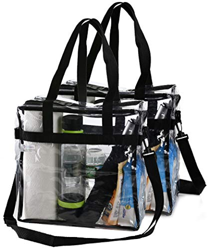 Clear Tote Bag NFL Stadium Approved - 2 PACK - Shoulder Straps and Zippered Top. Perfect Clear Bag for Work, School, Sports Games and Concerts. Meets NFL Tournament Guidelines. (12 x 12 x 6 Inches)