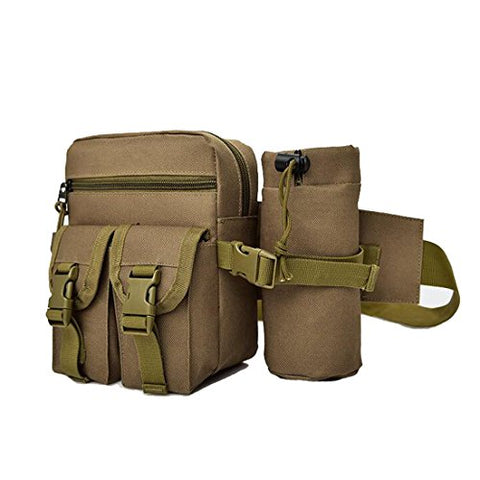 Sealinf Men'S Canvas Waist Bag With Bottle Holder Hiking Ridding Fanny Pack (Khaki)