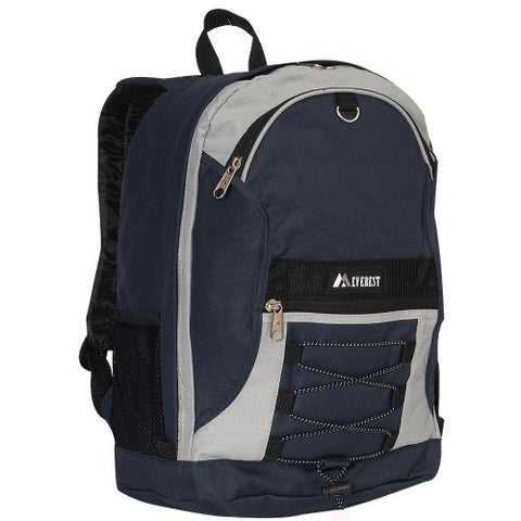 Everest Luggage Two Tone Backpack with Mesh Pockets, Navy/Gray, Medium
