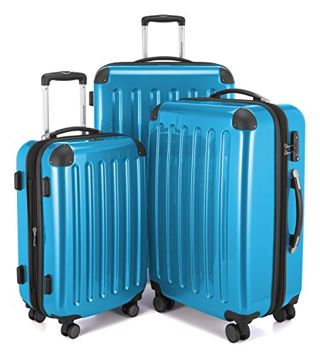 HAUPTSTADTKOFFER Luggages Sets Glossy Suitcase Sets Hardside Spinner Trolley Expandable (20', 24' & 28') TSA (Alex Cyanblue)