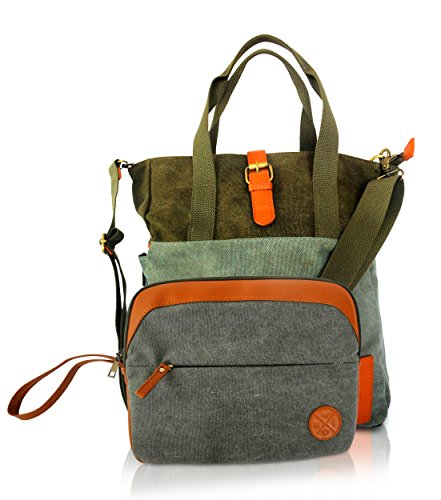 Canvas Tote Shoulder Bag With Large Padded Laptop Compartment And Bonus Ipad/Tablet Sleeve. Perfect