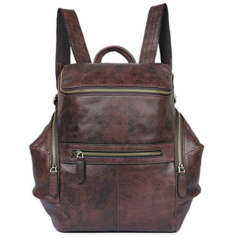 Clean Vintage Men'S Leather Backpack Daypack Hiking Travel Leather Bag