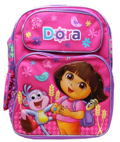 Full Size Pink Dora the Explorer and Boots Laughs Kids Backpack