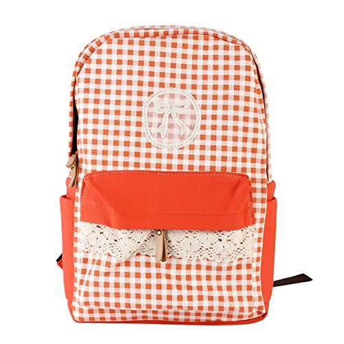 Damara Womens Lace Bow Front Check Spliced Backpack,Orange