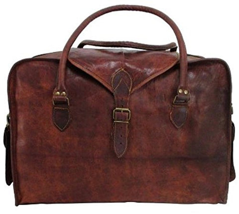 Vintage Crafts Leather 21 Inch Duffel Travel Gym Sports Overnight Weekend Leather Bag