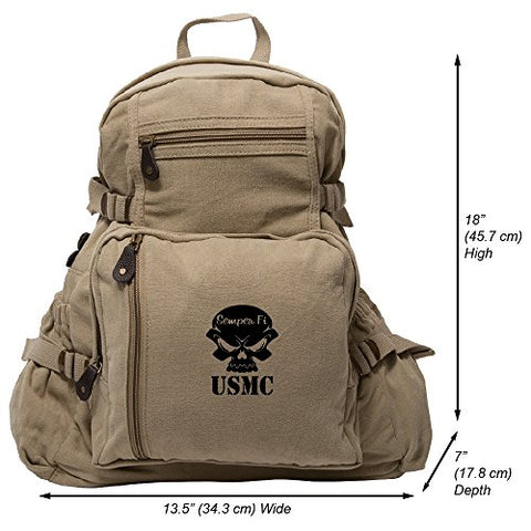 USMC Semper Fi Skull Marine Corp Army Sport Heavyweight Canvas Backpack Bag in Khaki & Black, Large