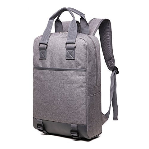 ZIXER Slim Water Resistant Lightweight School Student Laptop Backpack Messenger Bag Fits 15'' Laptop (Grey)