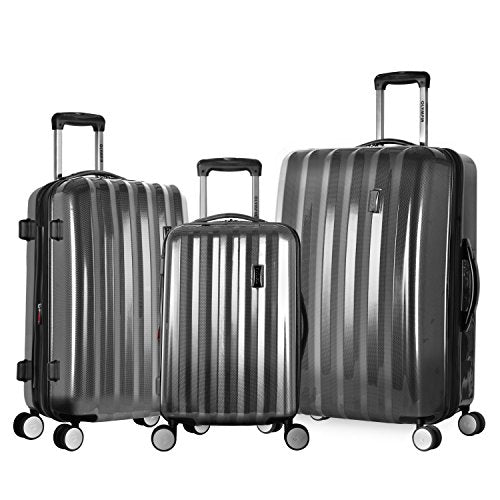 Olympia Luggage Titan 3 Piece Spinner Hardside Set, Black, One Size