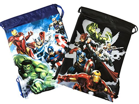 Marvel Avengers Drawstring Backpack Sling Tote School Sport Gym Bag (Gold) (2 Pieces Avenger Blue & Black)