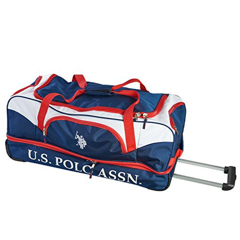 U.S. Polo Assn. Men's 30in Deluxe Rolling Duffle Bag, Split Level Storage, NAVY/RED