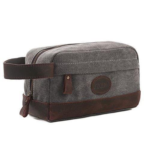 S-Zone Vintage Leather Trim Canvas Toiletry Bag Shaving Dopp Case Cosmetic Makeup Bag