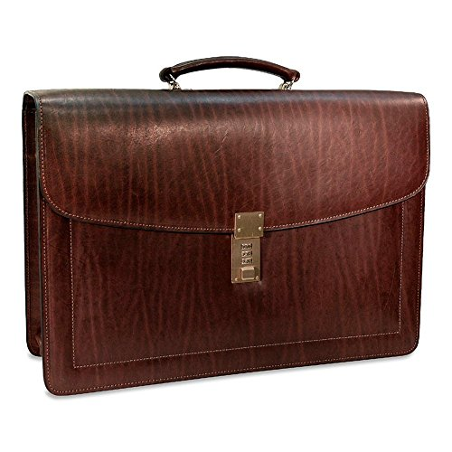 Jack Georges [Personalized Initials Embossing] Belting Triple Gusset Leather Briefcase w/Combination Lock in Brown