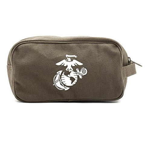 U.S. Marine Corps Semper Fidelis Dual Two Compartment Toiletry Kit Olive & White