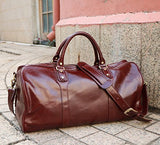 "Polare 21"" Real Italian Leather Weekender Travel Overnight Luggage Duffel Bag"