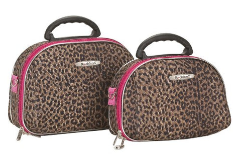 Rockland Luggage Rockland 2 Piece Cosmetic Set, Pink Leopard, Medium